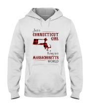CONNECTICUT GIRL LIVING IN MASSACHUSETTS WORLD Hooded Sweatshirt thumbnail