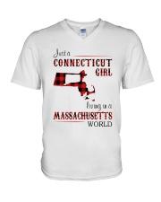 CONNECTICUT GIRL LIVING IN MASSACHUSETTS WORLD V-Neck T-Shirt thumbnail