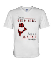 OHIO GIRL LIVING IN MAINE WORLD V-Neck T-Shirt thumbnail