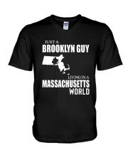 JUST A BROOKLYN GUY LIVING IN MASSACHUSETTS WORLD V-Neck T-Shirt thumbnail