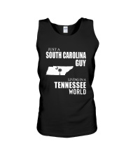 JUST A SOUTH CAROLINA GUY LIVING IN TN WORLD Unisex Tank thumbnail