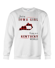IOWA GIRL LIVING IN KENTUCKY WORLD Crewneck Sweatshirt thumbnail