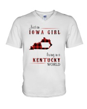 IOWA GIRL LIVING IN KENTUCKY WORLD V-Neck T-Shirt thumbnail
