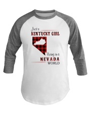 KENTUCKY GIRL LIVING IN NEVADA WORLD Baseball Tee thumbnail