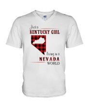 KENTUCKY GIRL LIVING IN NEVADA WORLD V-Neck T-Shirt thumbnail