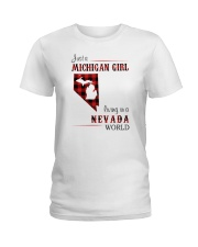 MICHIGAN GIRL LIVING IN NEVADA WORLD Ladies T-Shirt thumbnail