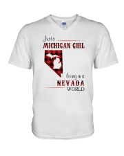 MICHIGAN GIRL LIVING IN NEVADA WORLD V-Neck T-Shirt thumbnail