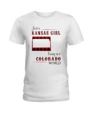 KANSAS GIRL LIVING IN COLORADO WORLD Ladies T-Shirt thumbnail