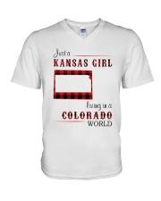 KANSAS GIRL LIVING IN COLORADO WORLD V-Neck T-Shirt thumbnail