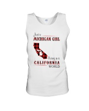 MICHIGAN GIRL LIVING IN CALIFORNIA WORLD Unisex Tank thumbnail