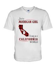 MICHIGAN GIRL LIVING IN CALIFORNIA WORLD V-Neck T-Shirt thumbnail