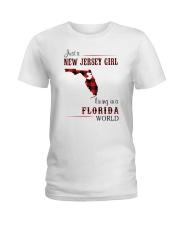 JERSEY GIRL LIVING IN FLORIDA WORLD Ladies T-Shirt thumbnail