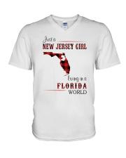JERSEY GIRL LIVING IN FLORIDA WORLD V-Neck T-Shirt thumbnail