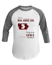 JERSEY GIRL LIVING IN IOWA WORLD Baseball Tee thumbnail