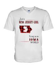 JERSEY GIRL LIVING IN IOWA WORLD V-Neck T-Shirt thumbnail