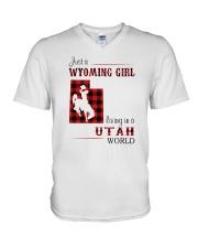 WYOMING GIRL LIVING IN UTAH WORLD V-Neck T-Shirt thumbnail