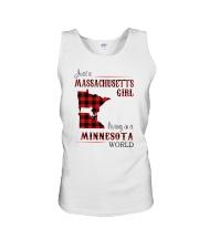 MASSACHUSETTS GIRL LIVING IN MINNESOTA WORLD Unisex Tank thumbnail