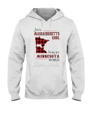 MASSACHUSETTS GIRL LIVING IN MINNESOTA WORLD Hooded Sweatshirt thumbnail