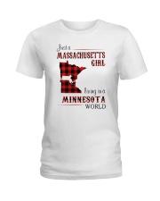 MASSACHUSETTS GIRL LIVING IN MINNESOTA WORLD Ladies T-Shirt thumbnail