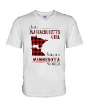 MASSACHUSETTS GIRL LIVING IN MINNESOTA WORLD V-Neck T-Shirt thumbnail