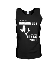 JUST AN INDIANA GUY LIVING IN TEXAS WORLD Unisex Tank thumbnail