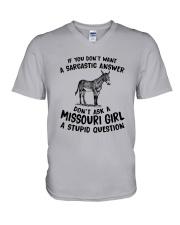DON'T ASK A MISSOURI GIRL A STUPID QUESTION V-Neck T-Shirt thumbnail