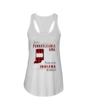 PENNSYLVANIA GIRL LIVING IN INDIANA WORLD Ladies Flowy Tank thumbnail