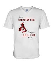 CANADIAN GIRL LIVING IN BRITISH WORLD V-Neck T-Shirt thumbnail