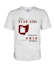 UTAH GIRL LIVING IN OHIO WORLD V-Neck T-Shirt thumbnail