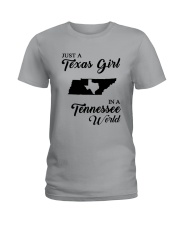 JUST A TEXAS GIRL IN A TENNESSEE WORLD Ladies T-Shirt front