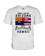 LIVE IN ARIZONA BEGAN IN HAWAII V-Neck T-Shirt thumbnail