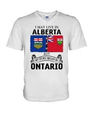 LIVE IN ALBERTA BEGAN IN ONTARIO ROOT V-Neck T-Shirt thumbnail