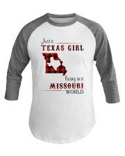 TEXAS GIRL LIVING IN MISSOURI WORLD Baseball Tee thumbnail