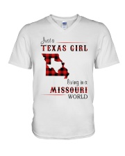 TEXAS GIRL LIVING IN MISSOURI WORLD V-Neck T-Shirt thumbnail