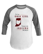 OHIO GIRL LIVING IN INDIANA WORLD Baseball Tee thumbnail