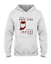 OHIO GIRL LIVING IN INDIANA WORLD Hooded Sweatshirt thumbnail