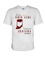 OHIO GIRL LIVING IN INDIANA WORLD V-Neck T-Shirt thumbnail