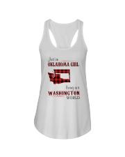 OKLAHOMA GIRL LIVING IN WASHINGTON WORLD Ladies Flowy Tank thumbnail