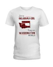 OKLAHOMA GIRL LIVING IN WASHINGTON WORLD Ladies T-Shirt thumbnail