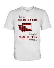 OKLAHOMA GIRL LIVING IN WASHINGTON WORLD V-Neck T-Shirt thumbnail