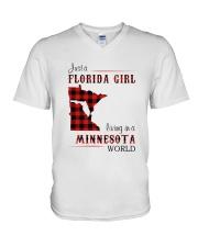 FLORIDA GIRL LIVING IN MINNESOTA WORLD V-Neck T-Shirt thumbnail