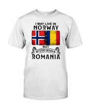 LIVE IN NORWAY BEGAN IN ROMANIA Classic T-Shirt tile