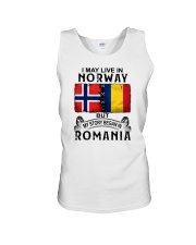 LIVE IN NORWAY BEGAN IN ROMANIA Unisex Tank thumbnail