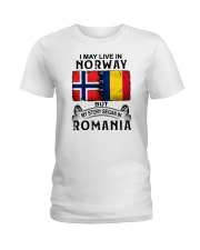 LIVE IN NORWAY BEGAN IN ROMANIA Ladies T-Shirt thumbnail