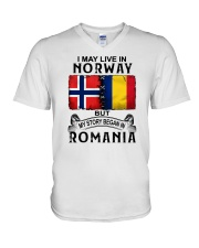 LIVE IN NORWAY BEGAN IN ROMANIA V-Neck T-Shirt thumbnail