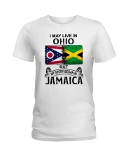LIVE IN OHIO BEGAN IN JAMAICA Ladies T-Shirt thumbnail