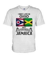 LIVE IN OHIO BEGAN IN JAMAICA V-Neck T-Shirt thumbnail