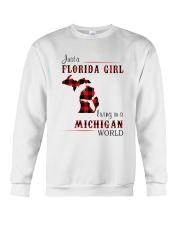 FLORIDA GIRL LIVING IN MICHIGAN WORLD Crewneck Sweatshirt thumbnail
