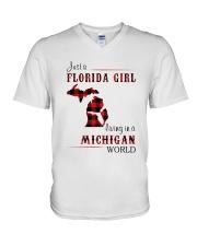 FLORIDA GIRL LIVING IN MICHIGAN WORLD V-Neck T-Shirt thumbnail