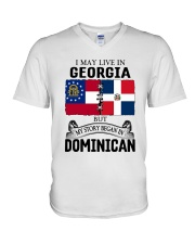 LIVE IN GEORGIA BEGAN IN DOMINICAN ROOT WOMEN V-Neck T-Shirt thumbnail
